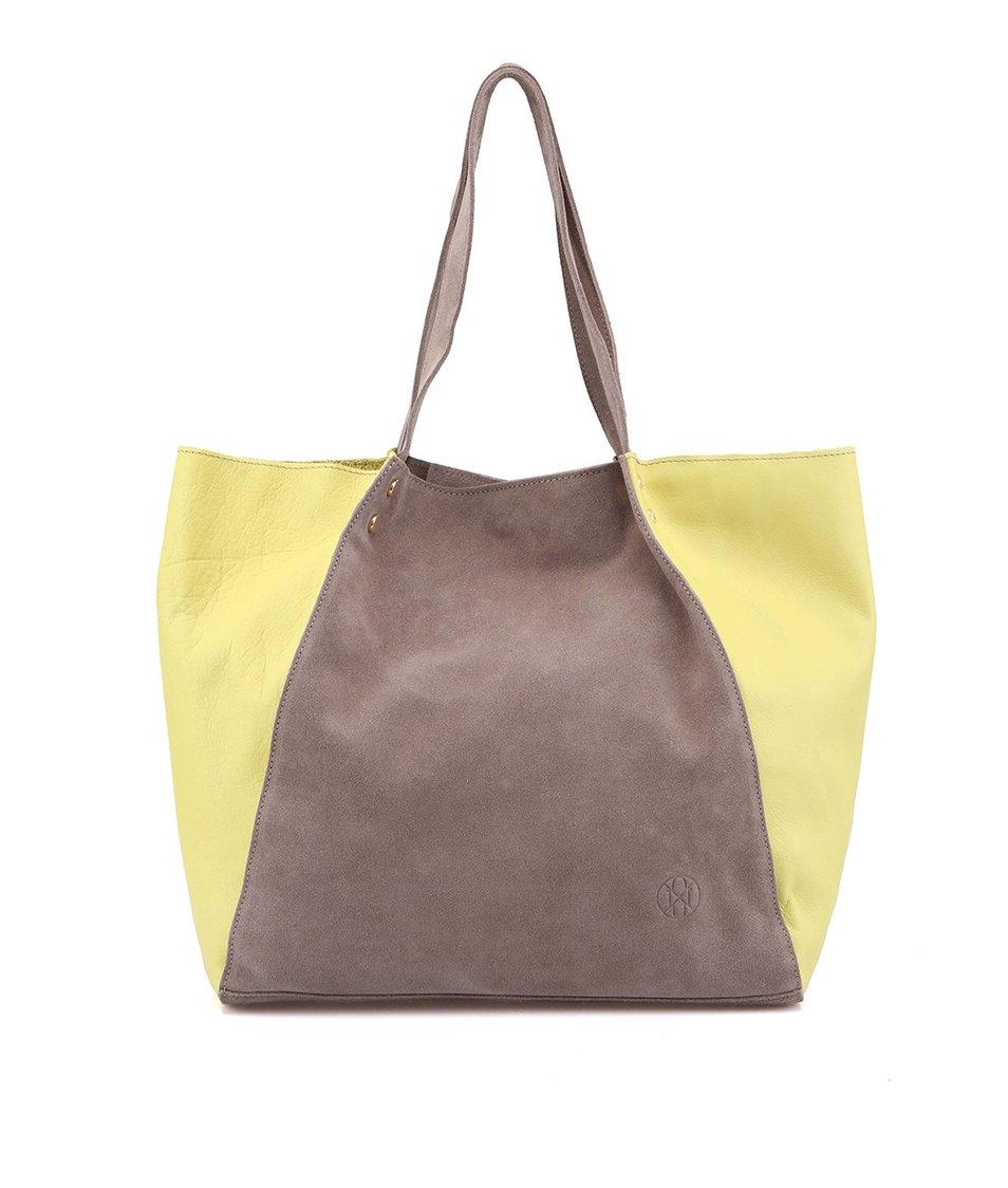 Velká limetkovo-šedá kožená kabelka OJJU