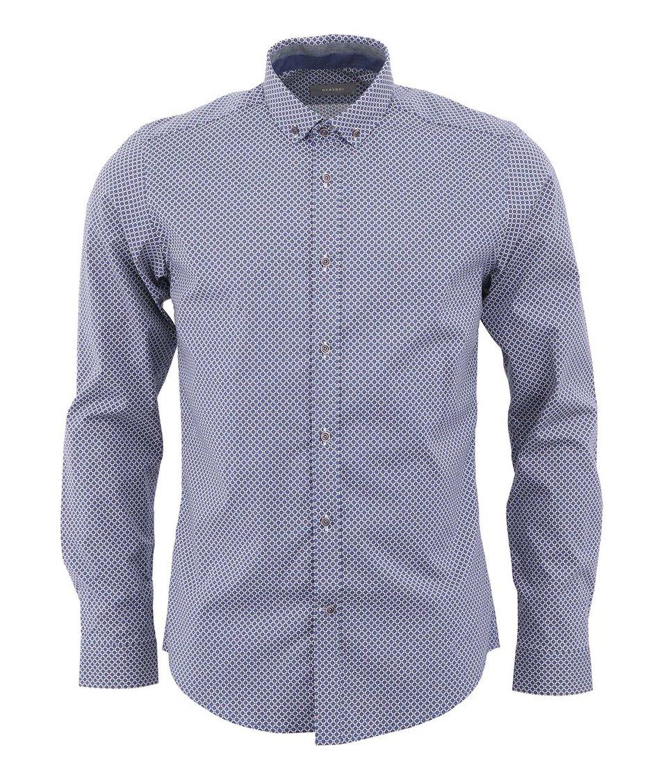 Modrá vzorovaná košile Bertoni Slim Fit