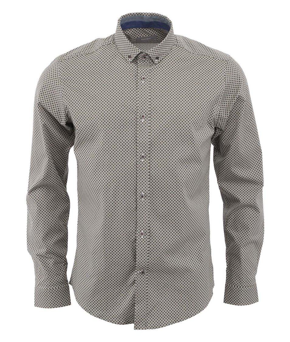 Zelená vzorovaná košile Bertoni Slim Fit
