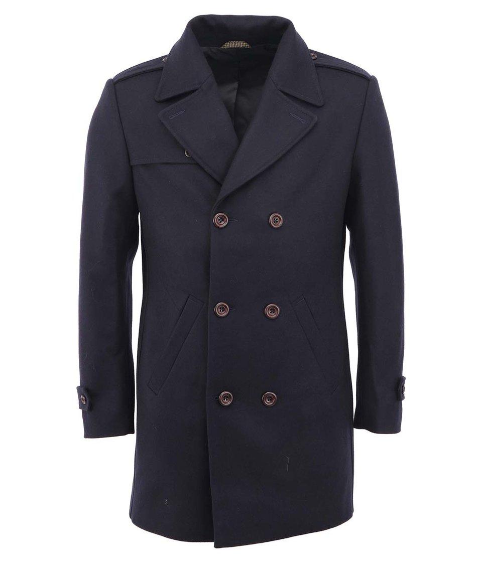 Tmavě modrý vlněný dvouřadý kabát Bertoni Kongsberg