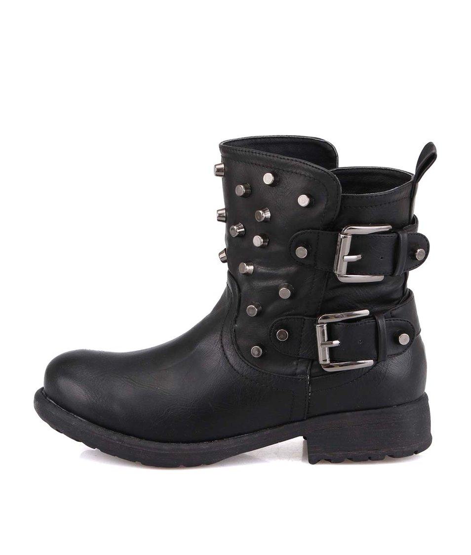 Černé dámské kotníkové boty s cvočky London Rebel Soldier