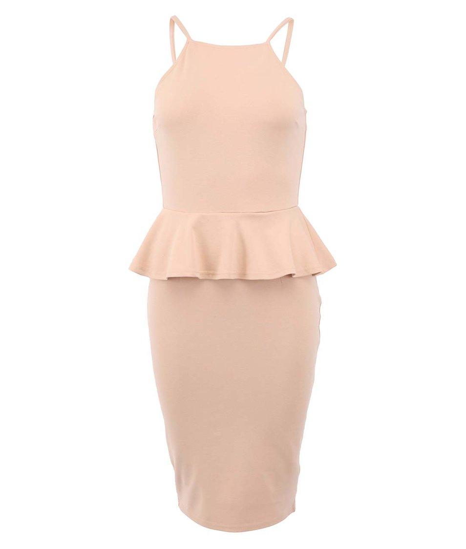 Béžové peplum šaty AX Paris