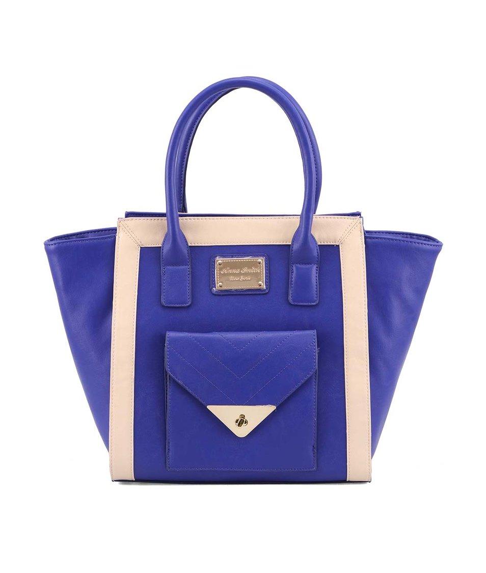 Modro-krémová kabelka s přední menší kapsičkou Anna Smith