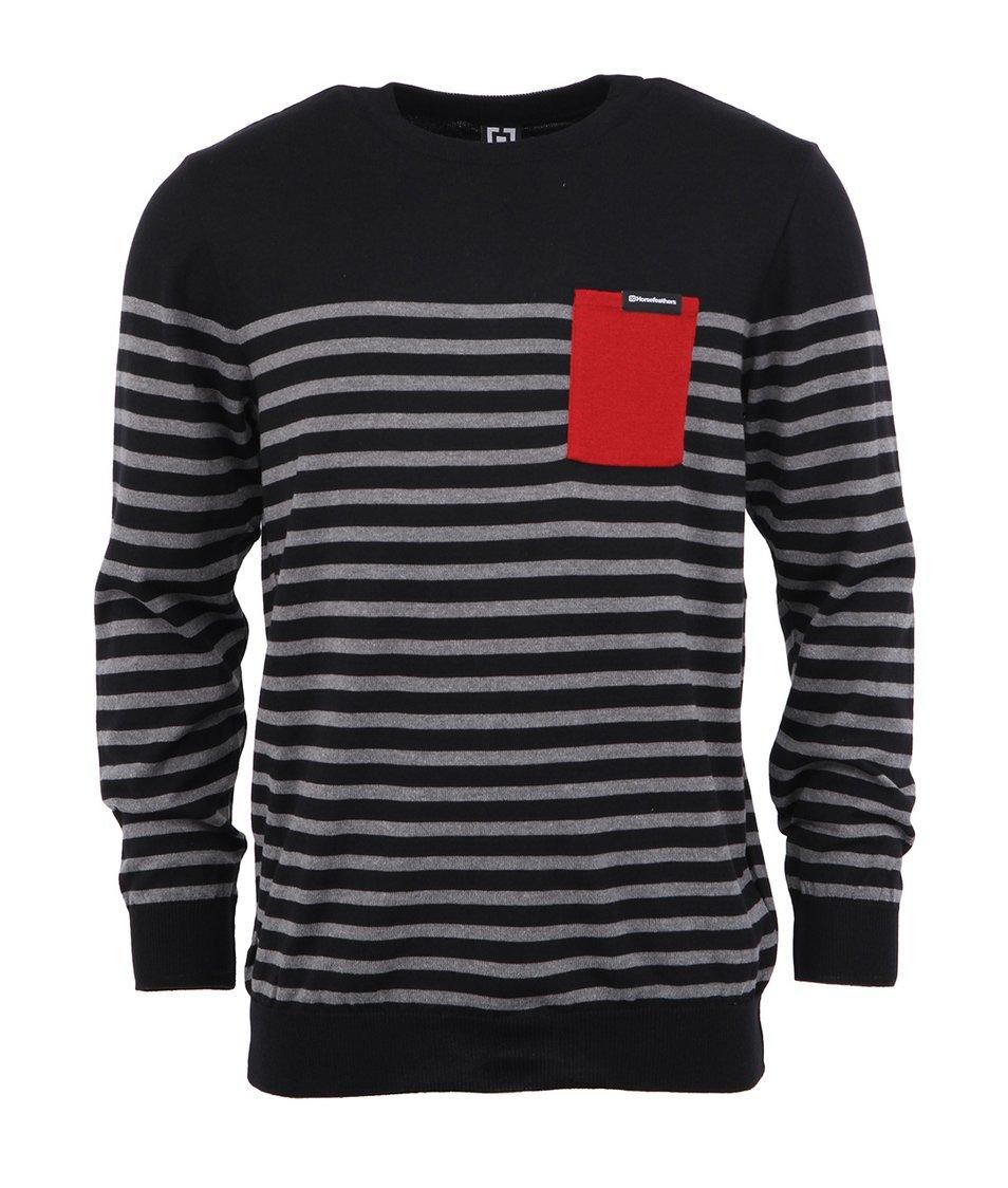 Černý pánský svetr s červenou kapsou Horsfeathers Spin