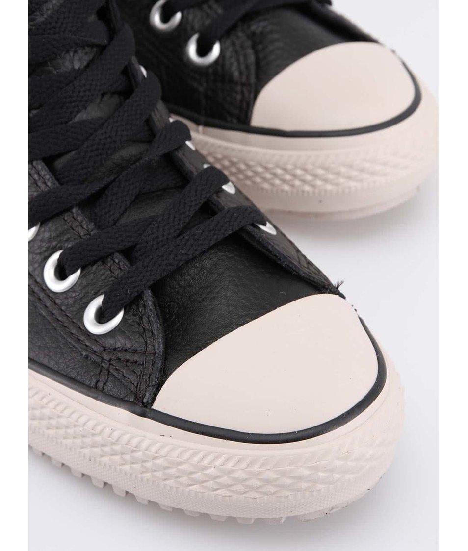 Béžovo-černé pánské kožené zimní tenisky Converse Chuck Taylor All Star