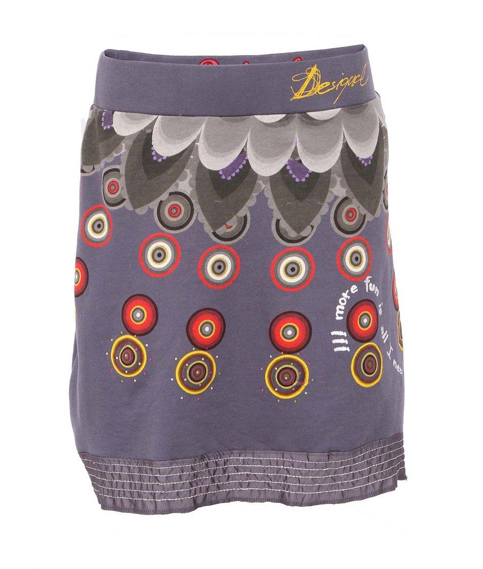 Modrošedá barevně vzorovaná sukně Desigual Luke