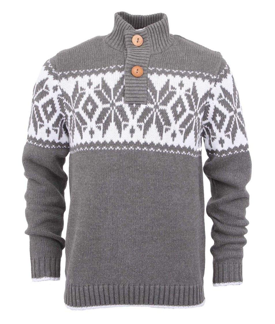 Šedý svetr s nordickým vzorem !Solid Jamel