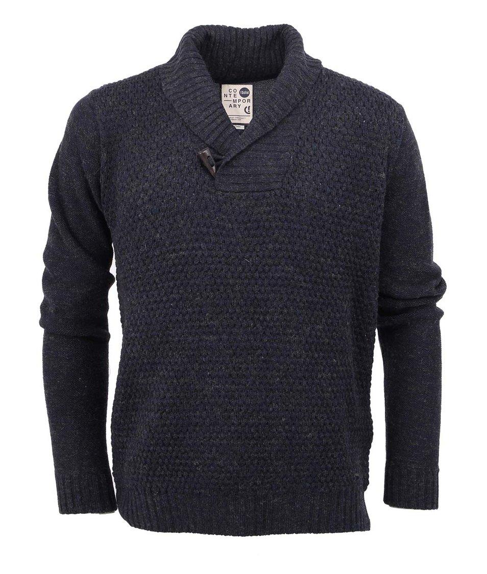 Tmavě modrý vlněný svetr !Solid Jamon