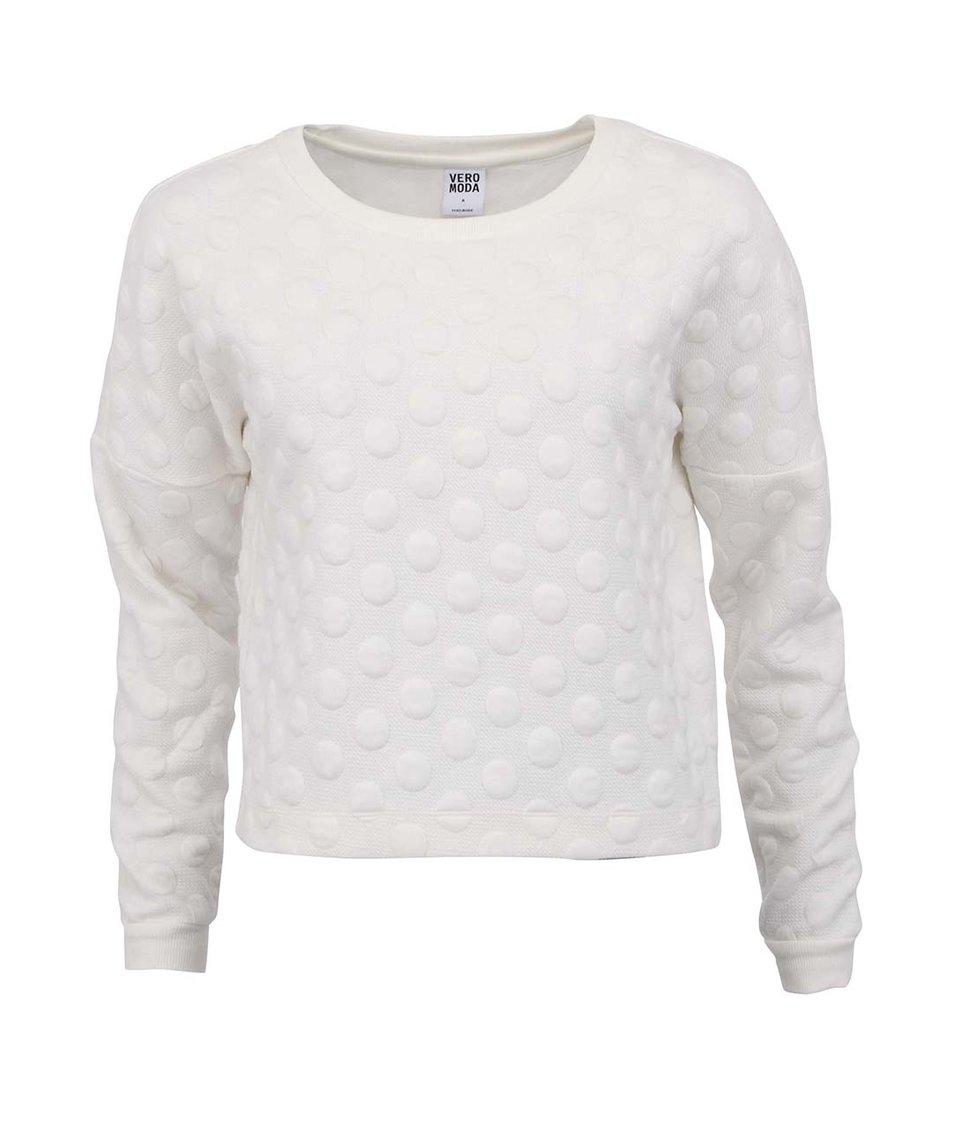 Bílá mikina s puntíky Vero Moda Manjo