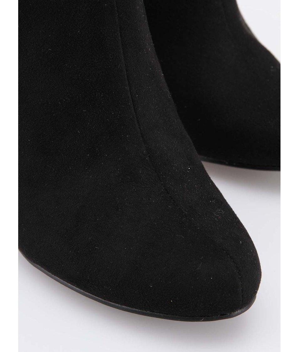 Černé kotníkové boty na podpatku Ruby Shoo Louise