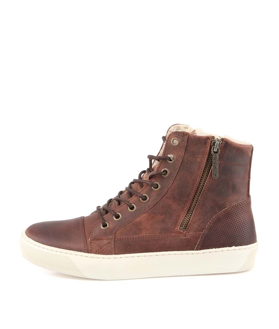 Hnědé kožené kotníkové boty Jack & Jones Beat