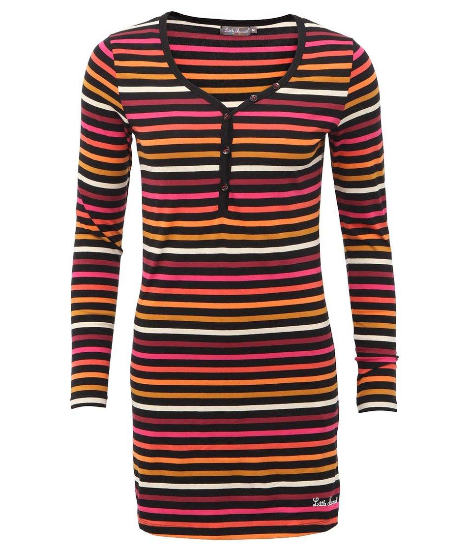 Černé dlouhé triko s barevnými proužky Little Marcel Resil