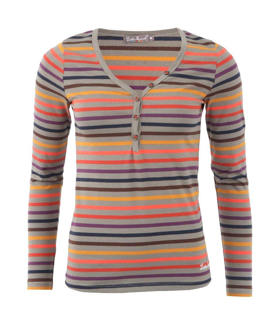 Šedé dámské triko s barevnými proužky Little Marcel Tesil
