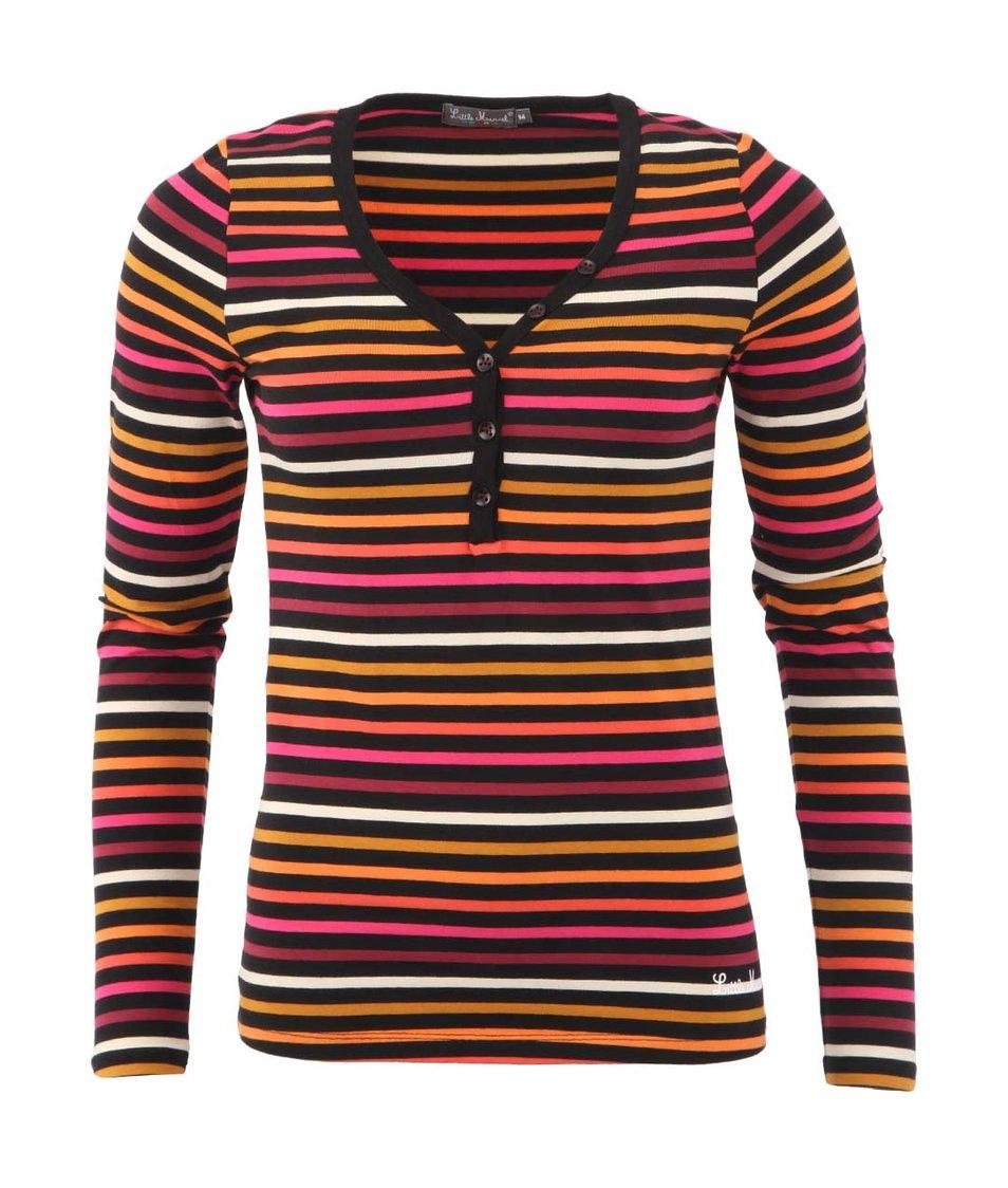 Černé dámské triko s barevnými proužky laděnými do růžova Little Marcel Tesil
