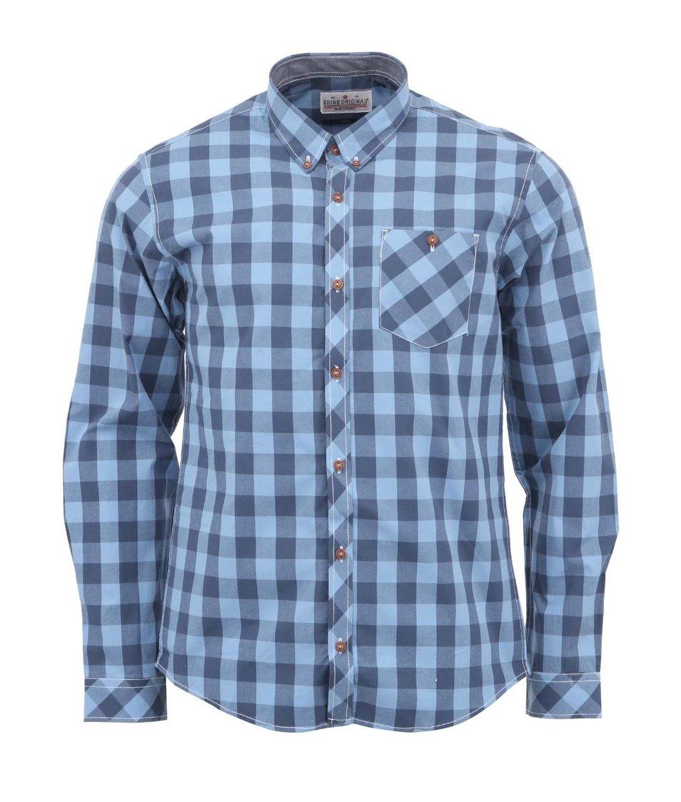 Modrá košile s velkým kostkovaným vzorem Shine Original