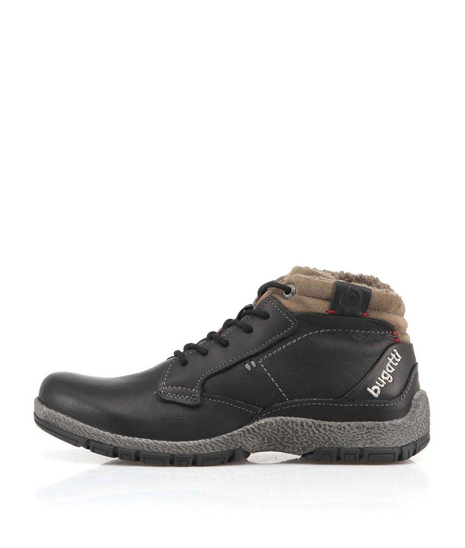 Černé pánské kožené boty s kožíškem bugatti Calvino