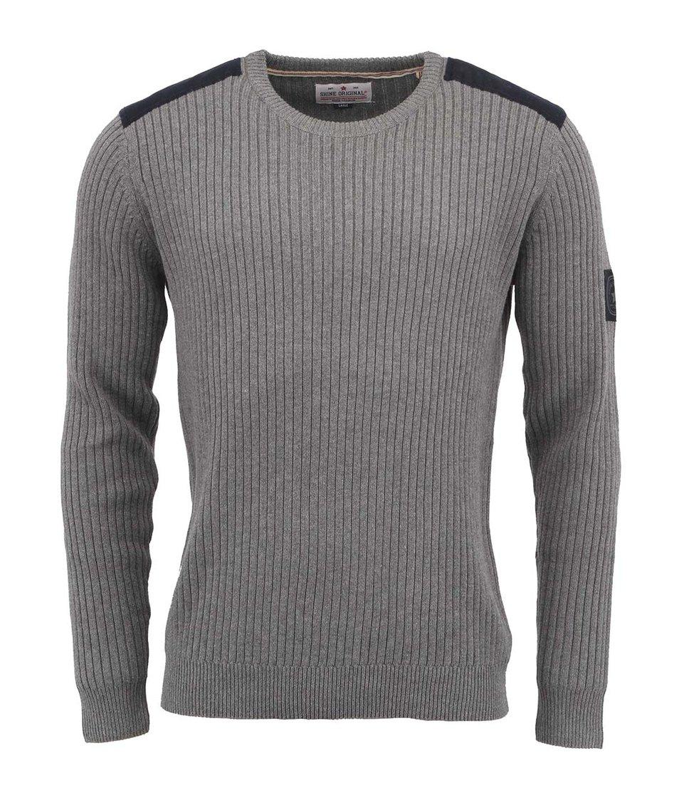Šedý pletený svetr se záplatami Shine Original