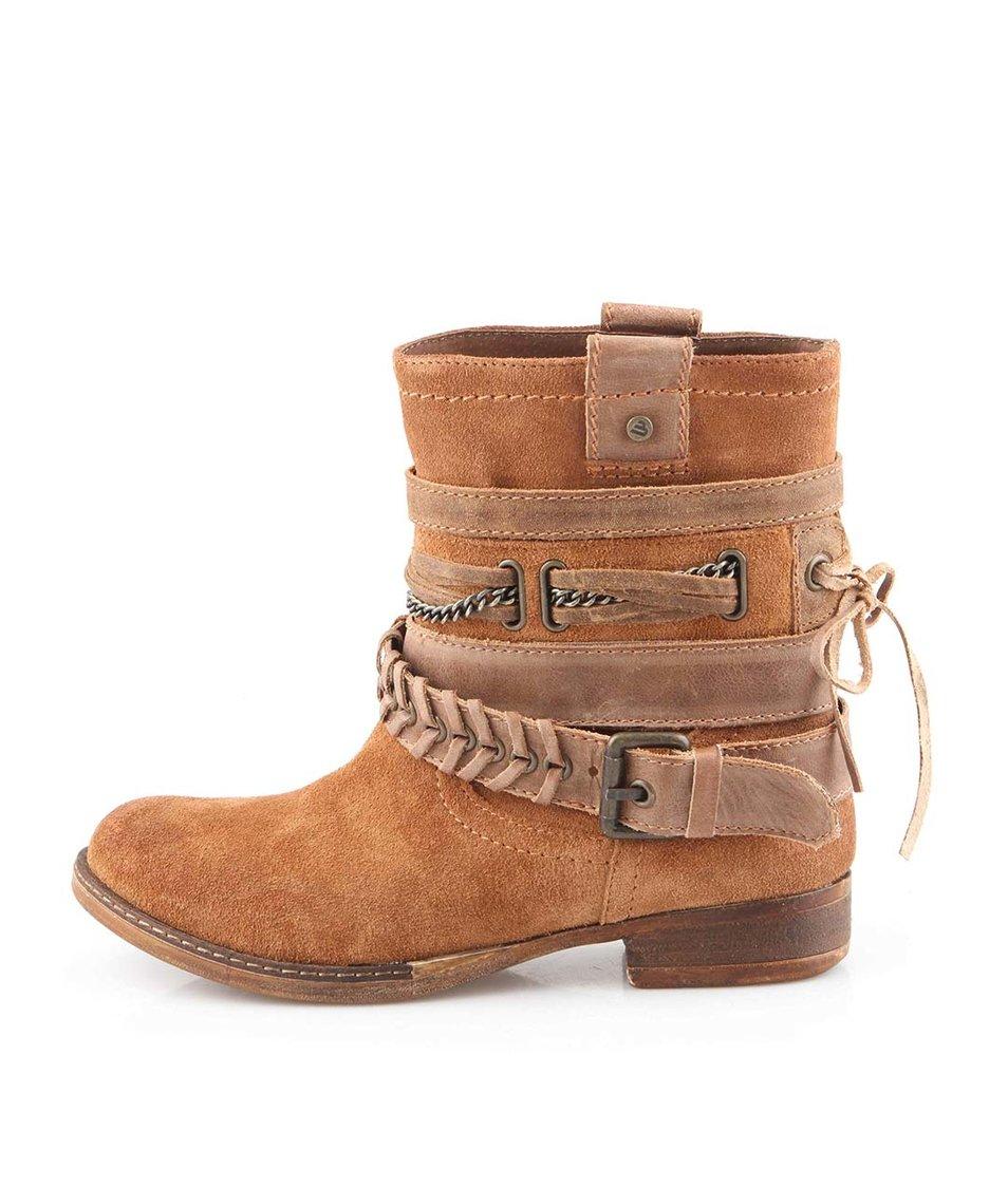 Hnědé kožené kotníkové boty Bullboxer