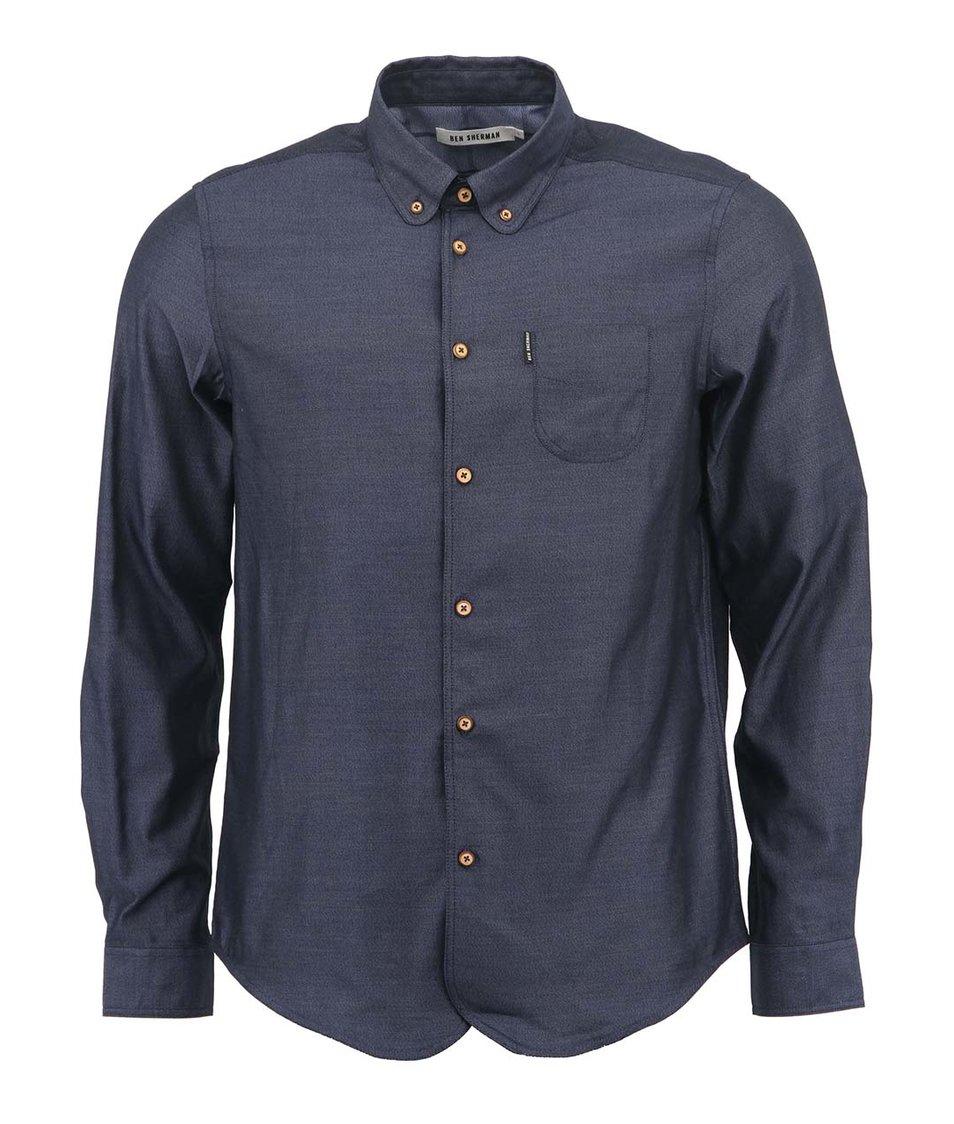 Tmavě modrá pánská košile s hnědými knoflíky Ben Sherman