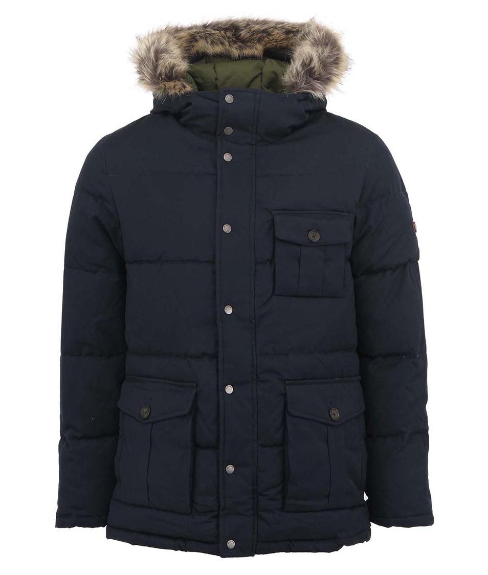 Tmavě modrý zimní pánský kabát s kožichem Ben Sherman