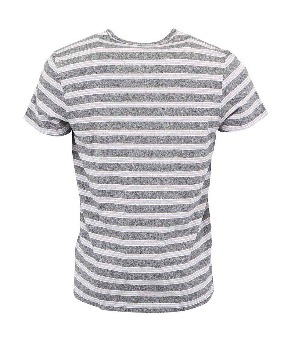 Šedé pruhované triko s kapsou Ben Sherman Grindle
