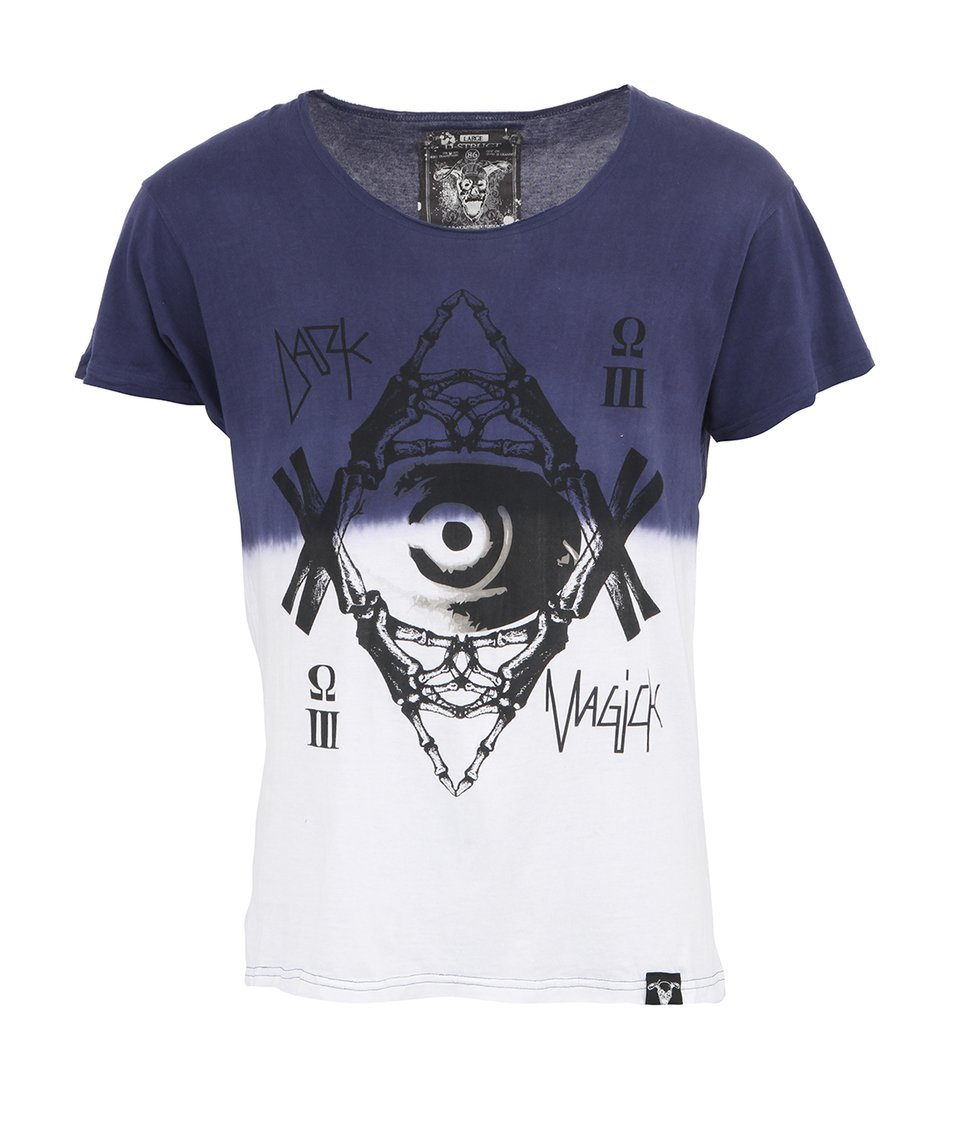 Modro-bílé pánské triko D-Struct Eyeball Dip Dye
