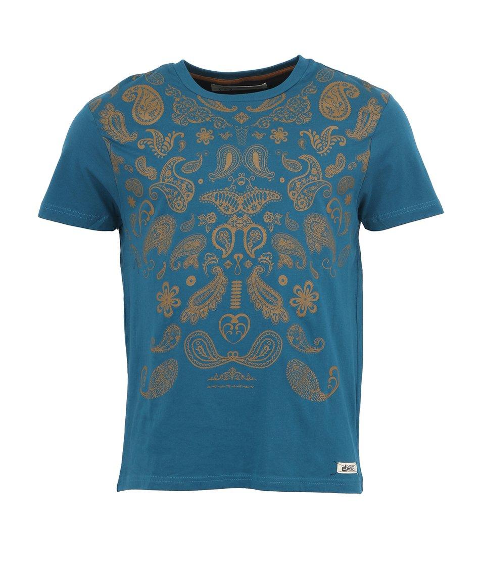 Modré pánské vzorované triko D-Struct Dante
