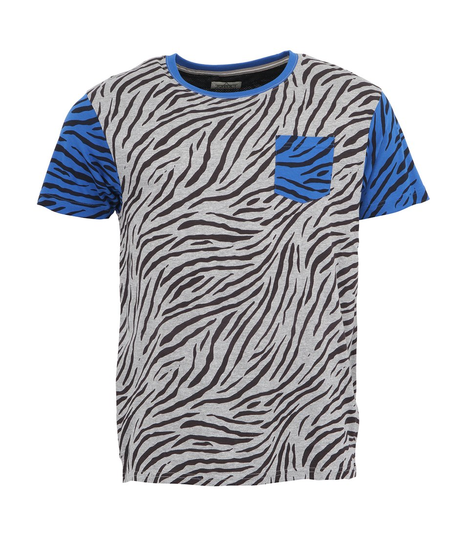 Šedé pánské triko se zebřím vzorem D-Struct Sosa