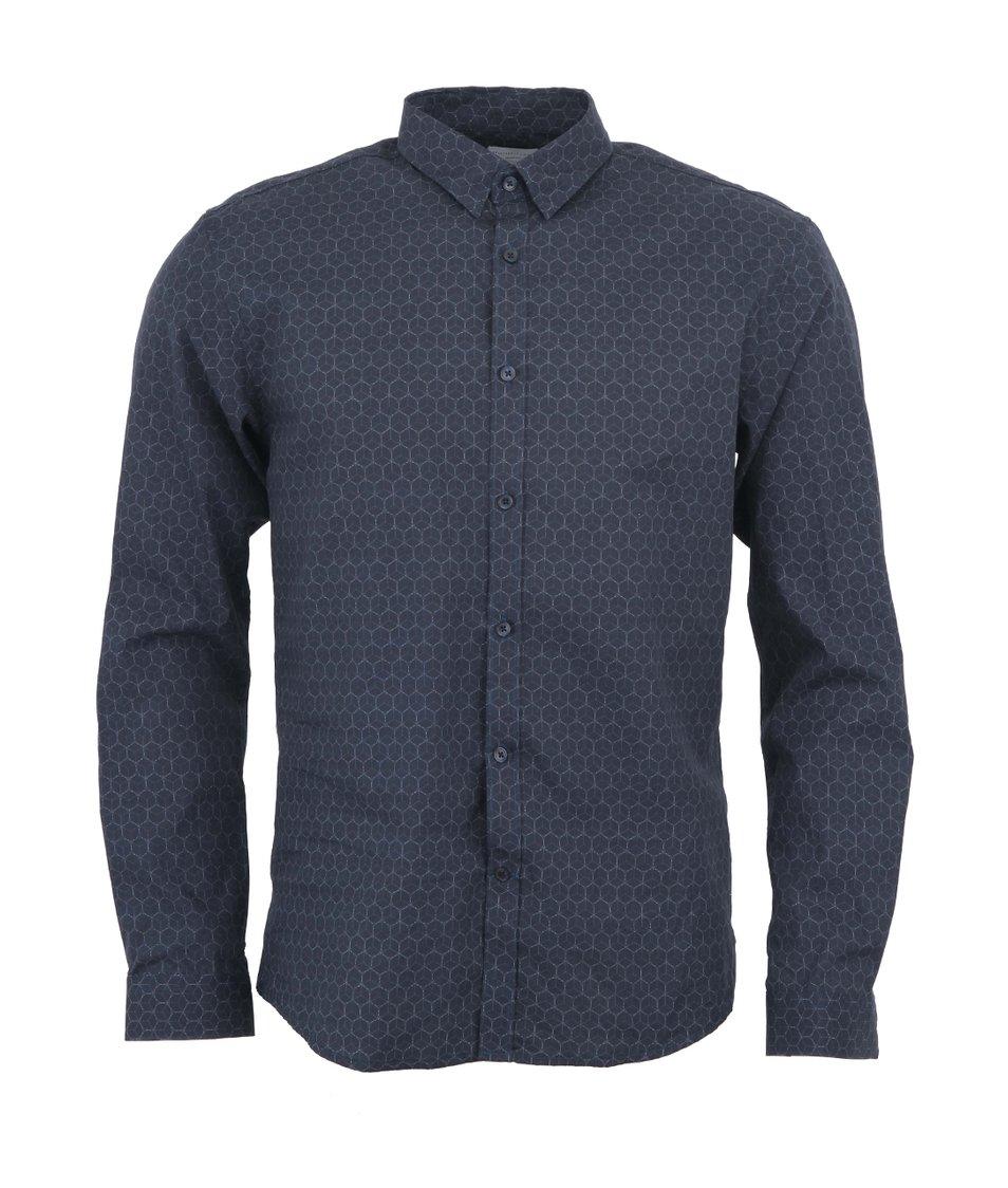 Tmavě modrá košile se vzorem Selected One Thomas Slim Fit