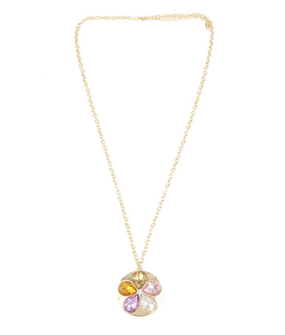 Pozlacený náhrdelník s barevným květinovým přívěškem INVUU London