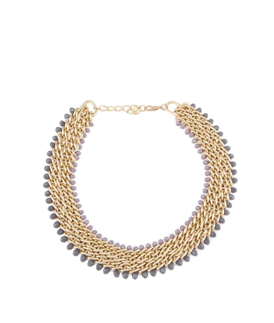 Fialovo-zlatý široký náhrdelník INVUU London