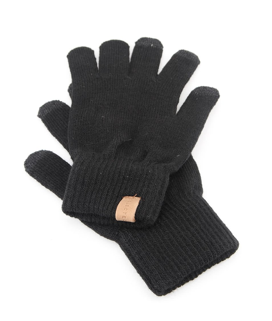 Černé zimní rukavice Selected Leth