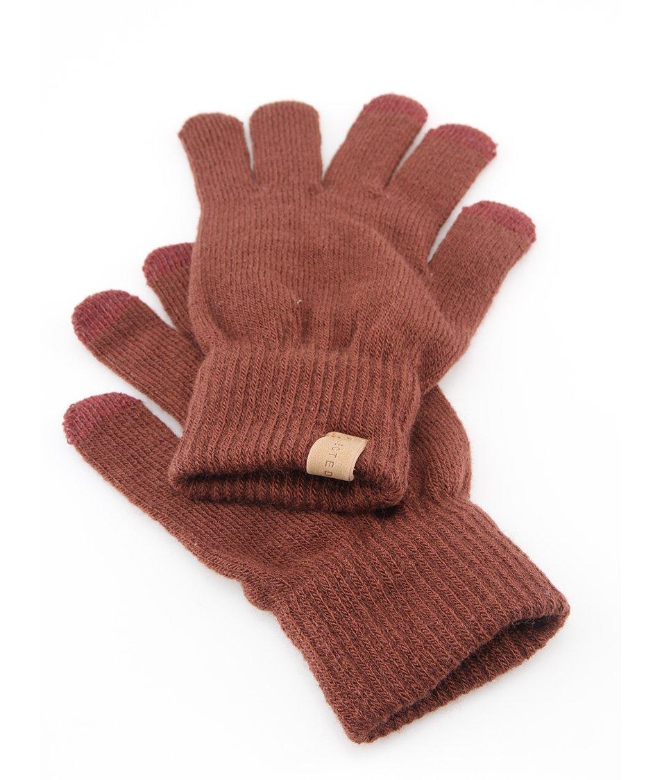 Hnědé zimní rukavice Selected Leth
