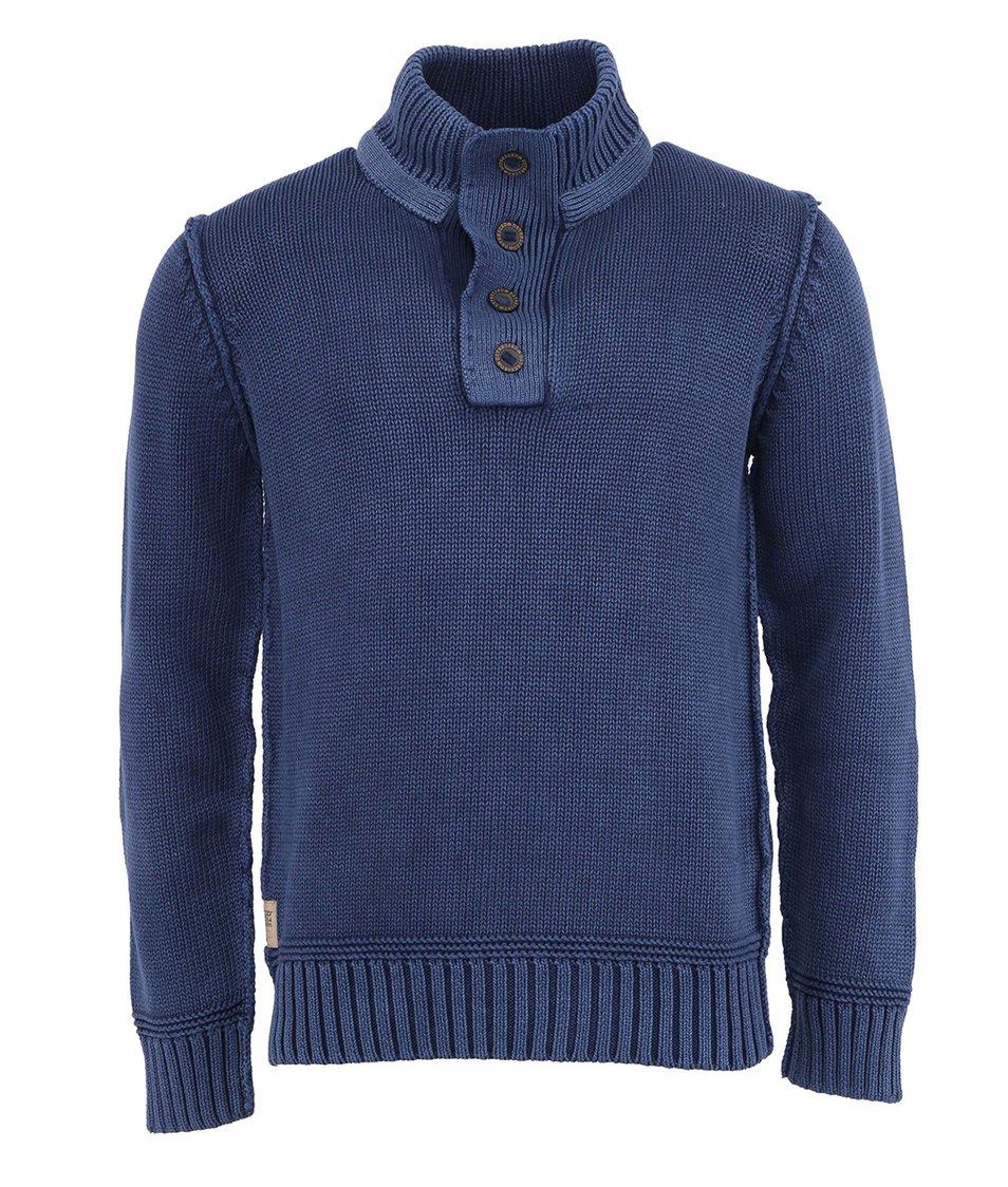 Tmavě modrý bavlněný svetr s knoflíky Dstrezzed