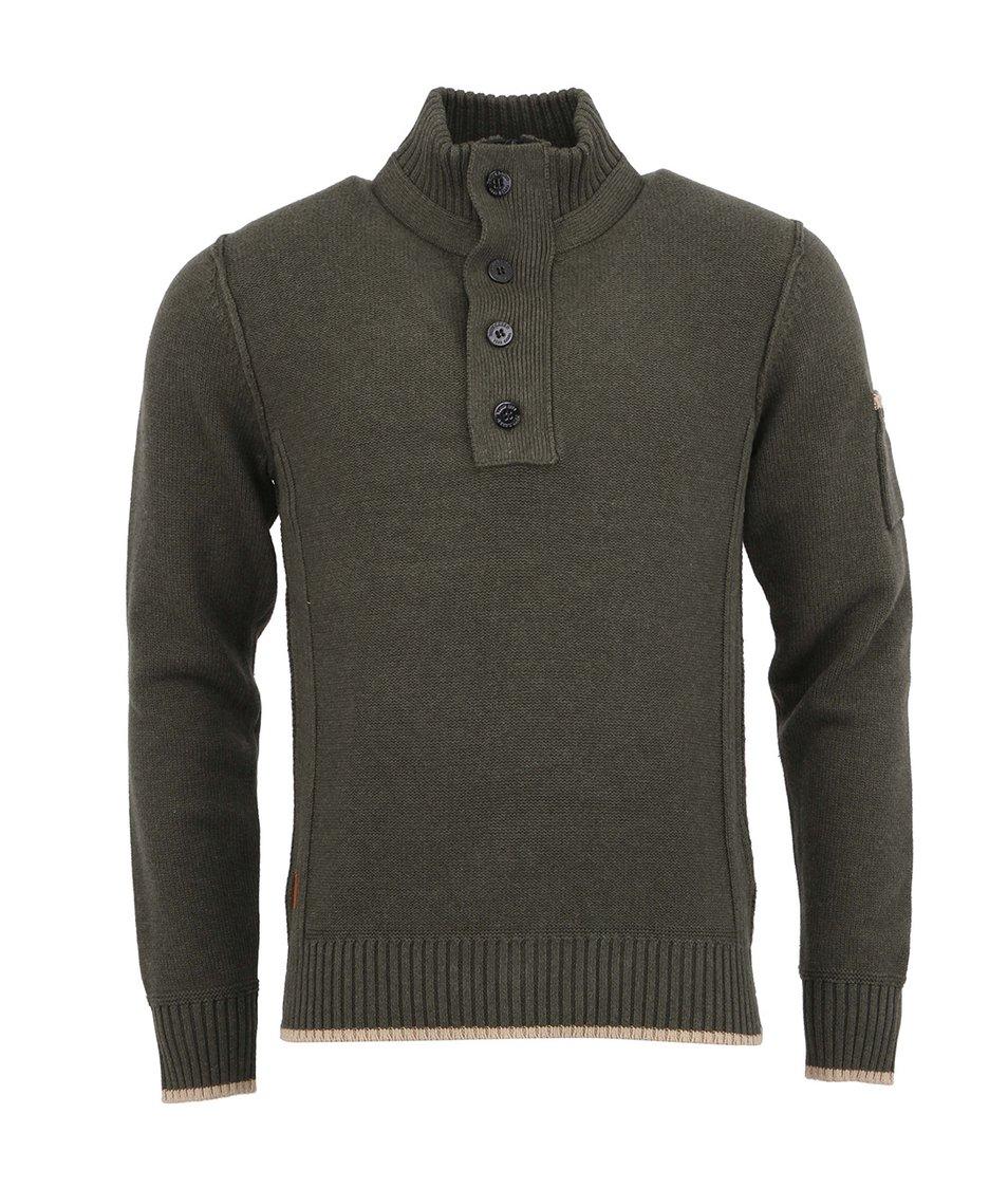 Tmavě zelený bavlněný svetr se zipem a knoflíky Dstrezzed