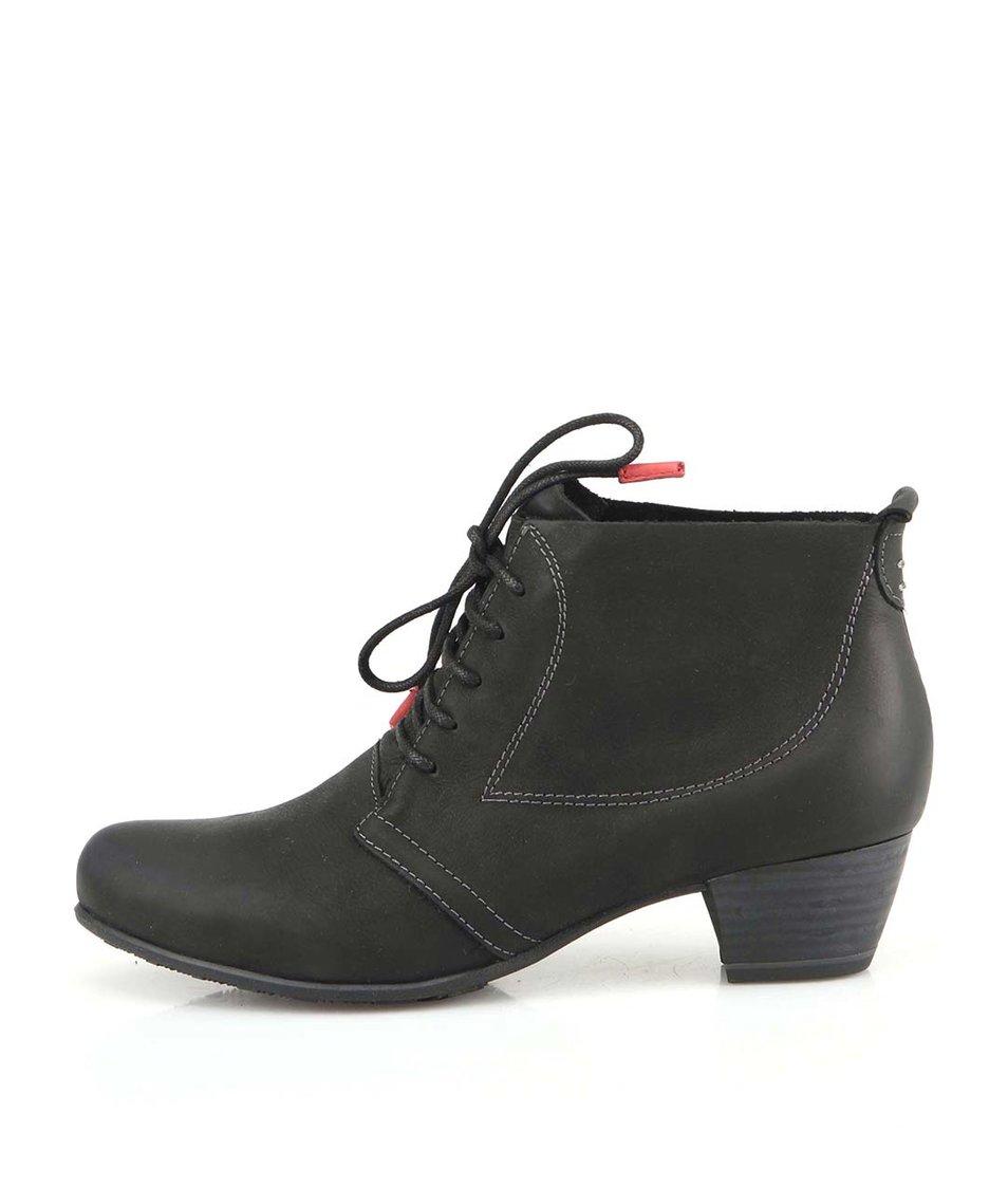 Černé kožené boty na nízkém podpatku Tamaris