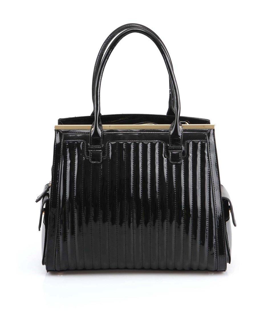Černá lesklá kabelka s postranními kapsami LYDC