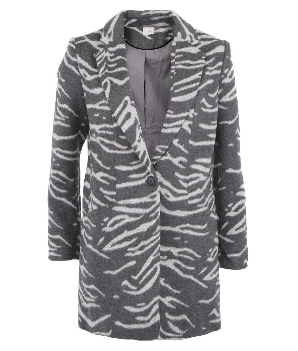 Šedý kabát se zebrovým vzorem YAYA