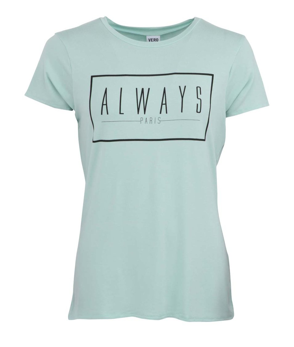 Mentolové tričko s nápisem Vero Moda La Vie