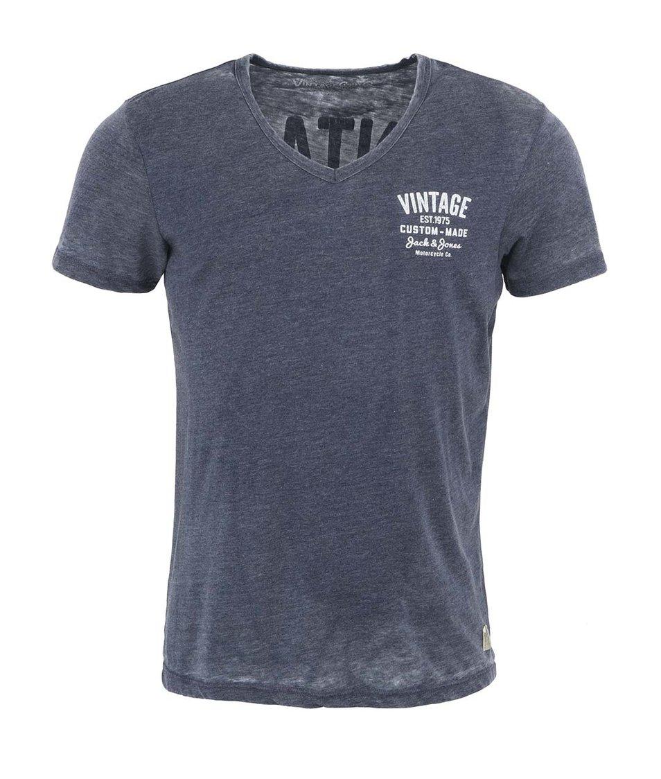 Šedomodré pánské triko s véčkovým výstřihem Jack & Jones Happy