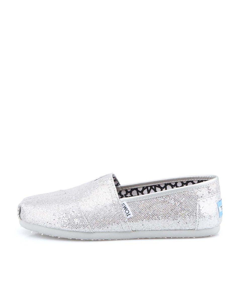 Stříbrné dámské třpytivé loafers Toms Glitter