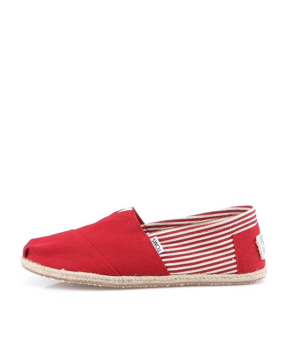 Červené pánské pruhované loafers Toms University