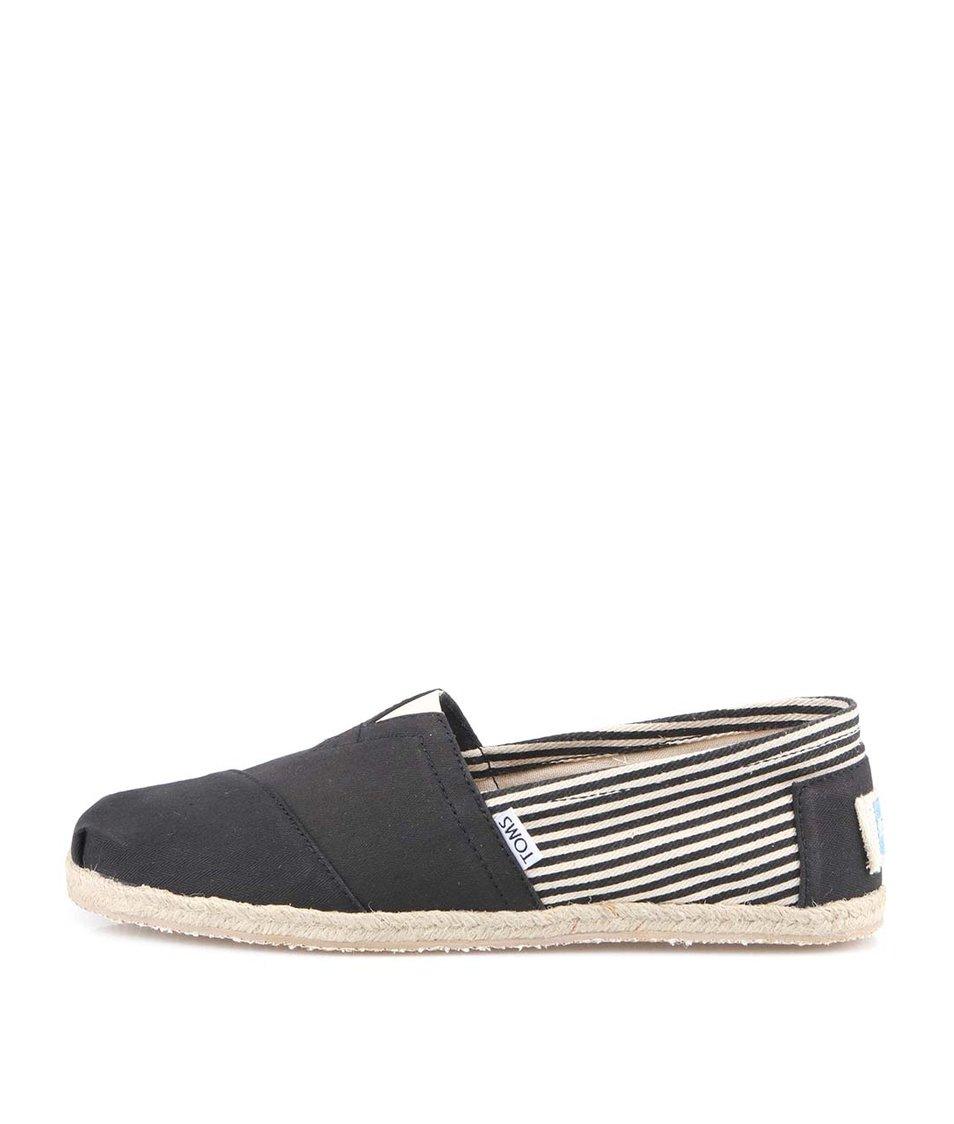 Černé pánské pruhované loafers Toms University