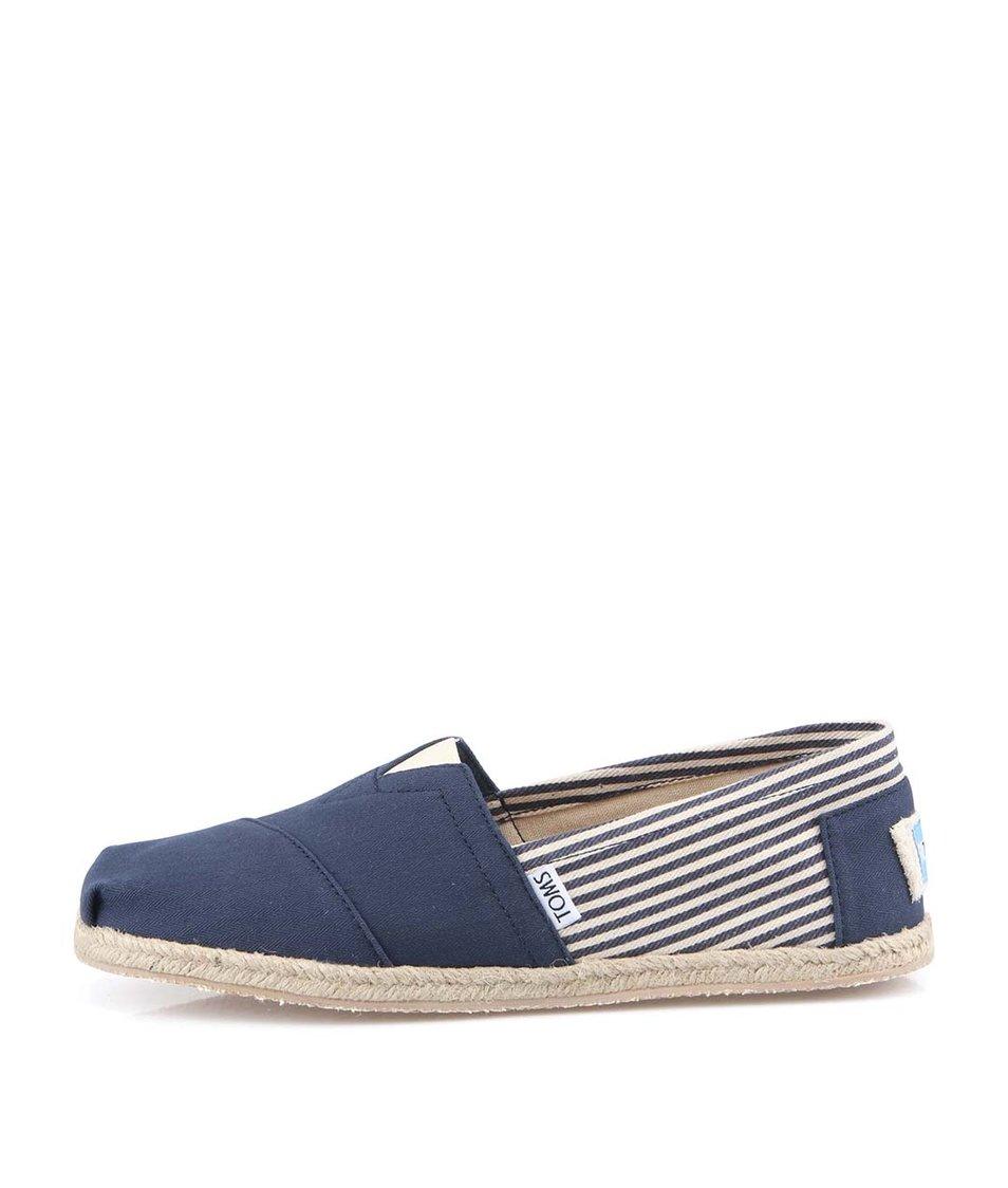 Tmavě modré pánské pruhované loafers Toms University
