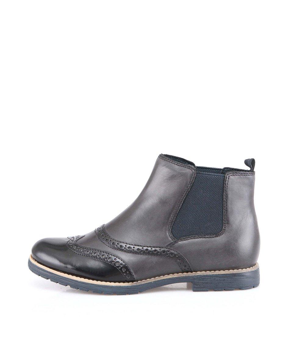 Černo-hnědé dámské kožené kotníkové boty Tamaris
