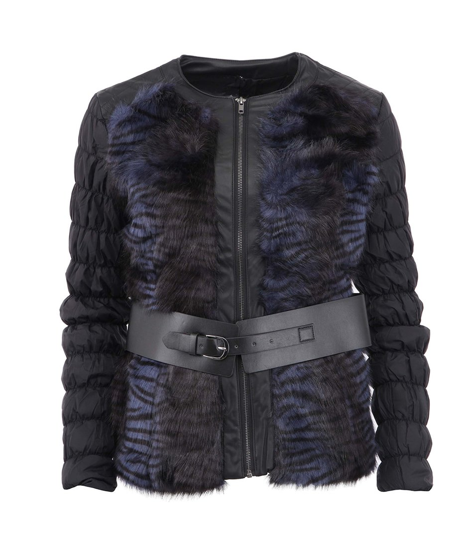 Černá bunda s kožíškem Desigual Yvon