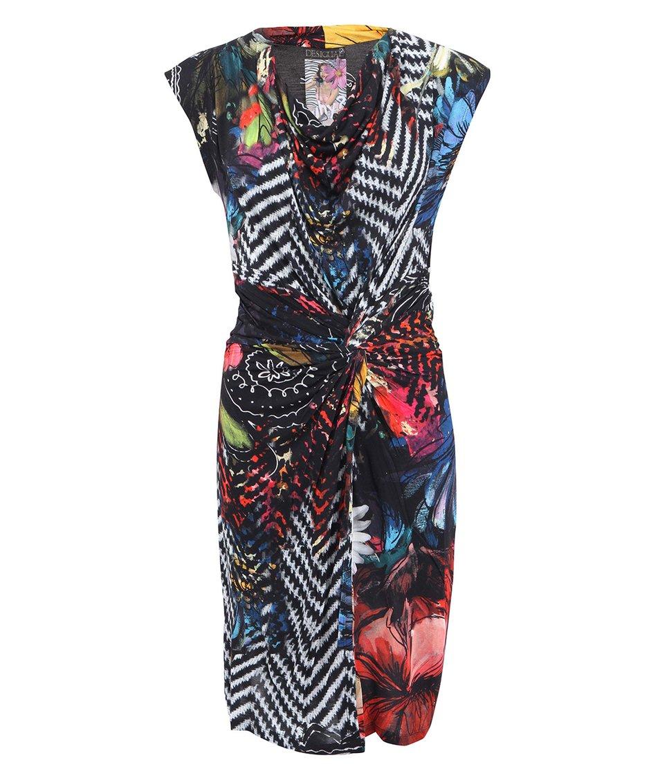 Černé šaty s barevným potiskem Desigual Yolanda