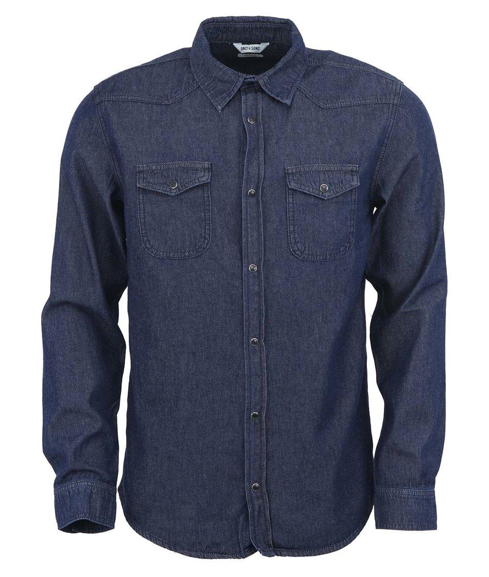 Tmavě modrá džínová košile ONLY & SONS Jay Western