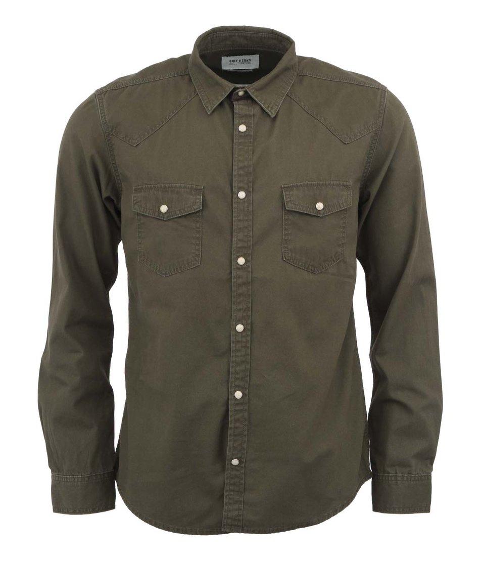 Khaki džínová košile Only & Sons Emerson