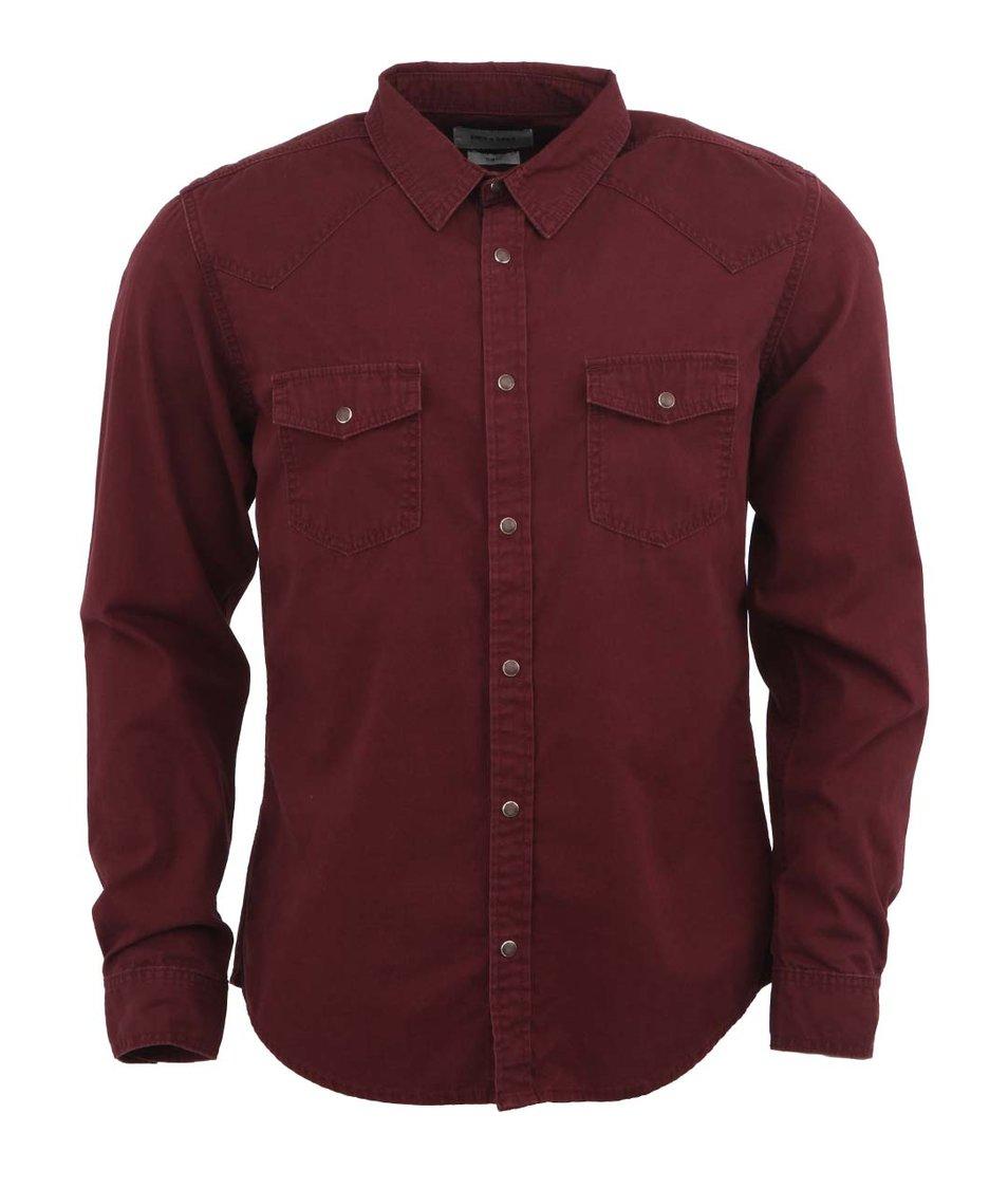 Vínová džínová košile Only & Sons Emerson